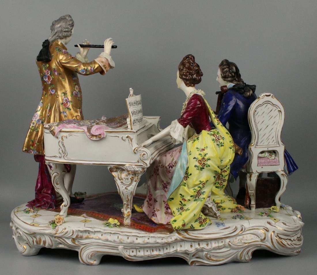 "Large 19"" Dresden Volkstedt figurine ""Musical Trio"" - 4"