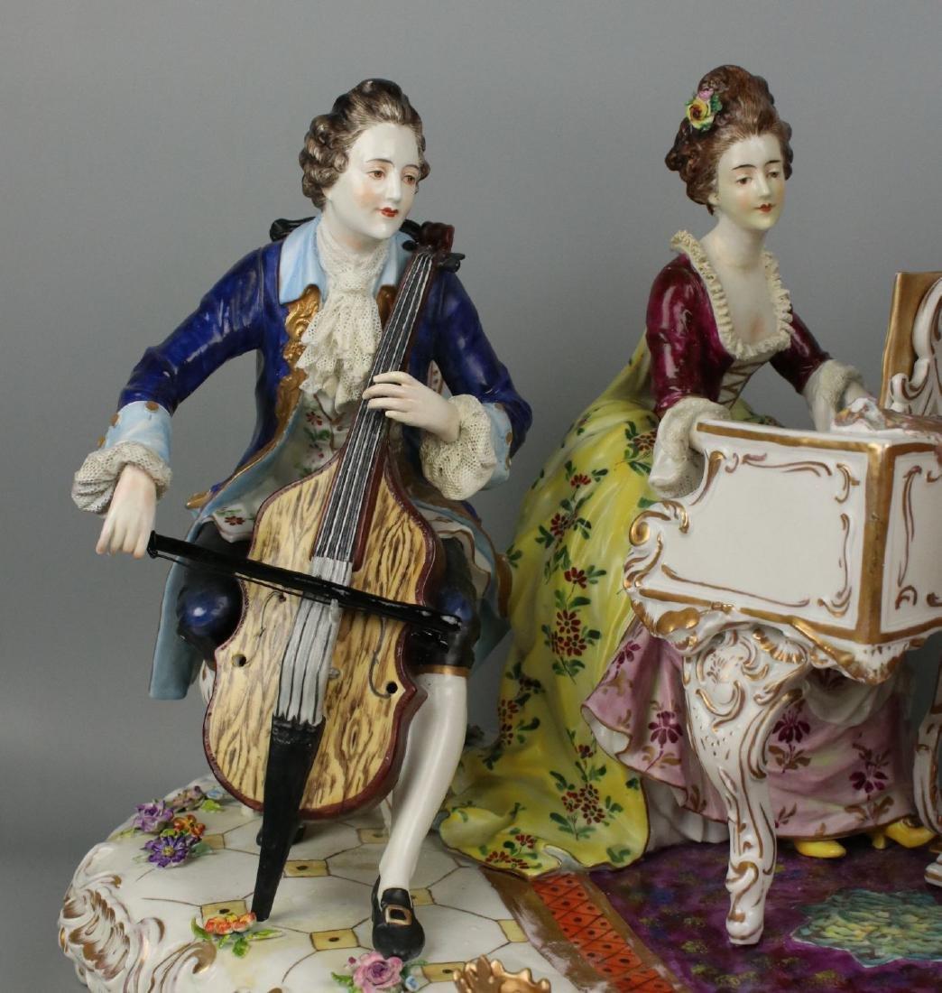 "Large 19"" Dresden Volkstedt figurine ""Musical Trio"" - 5"