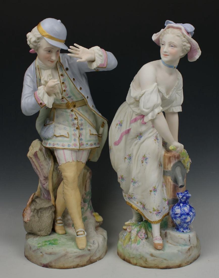 "19C Vion & Baury figurines ""Noble Hunter & Peasant"