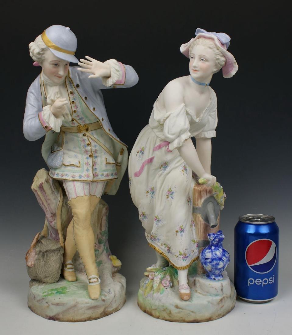 "19C Vion & Baury figurines ""Noble Hunter & Peasant - 3"