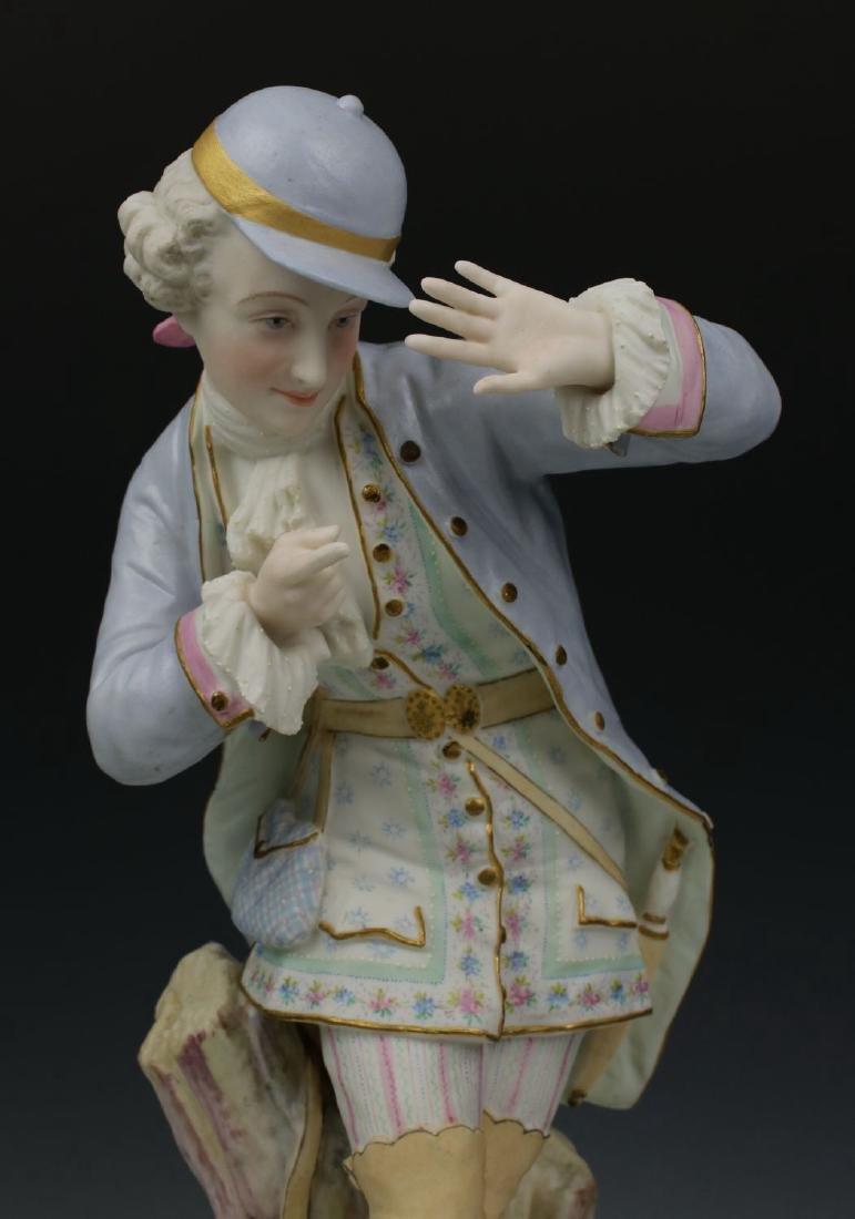 "19C Vion & Baury figurines ""Noble Hunter & Peasant - 9"