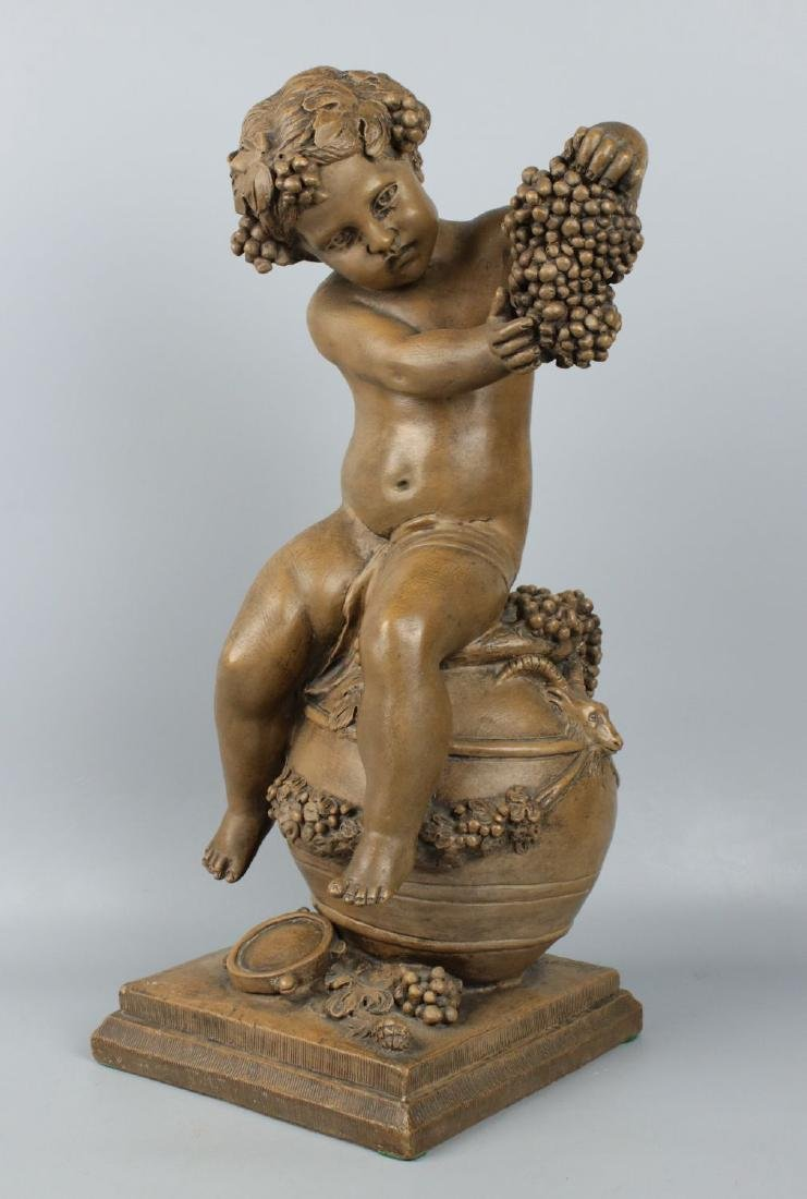 "19c French terracotta figurine Fagotto ""Young Bacchus"""