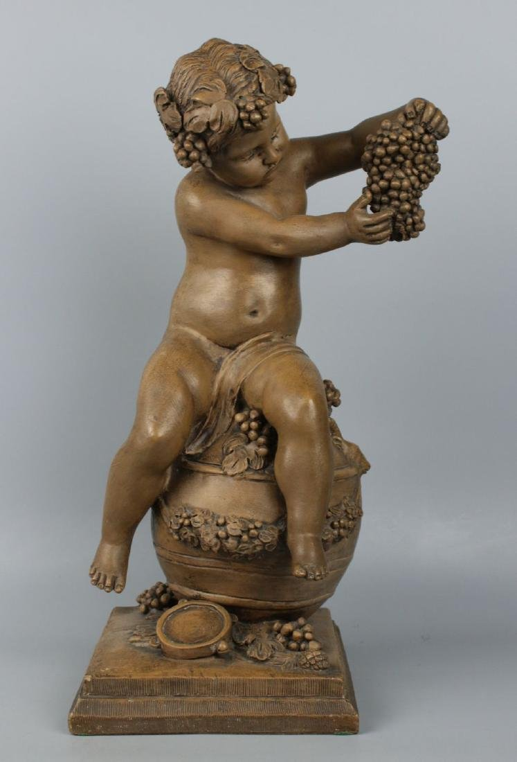 "19c French terracotta figurine Fagotto ""Young Bacchus"" - 2"