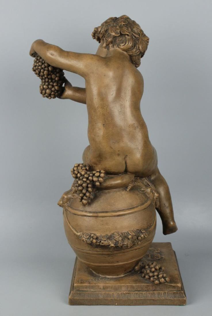 "19c French terracotta figurine Fagotto ""Young Bacchus"" - 4"