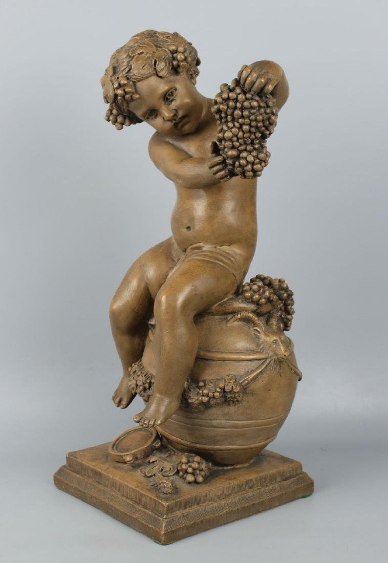 "19c French terracotta figurine Fagotto ""Young Bacchus"" - 5"