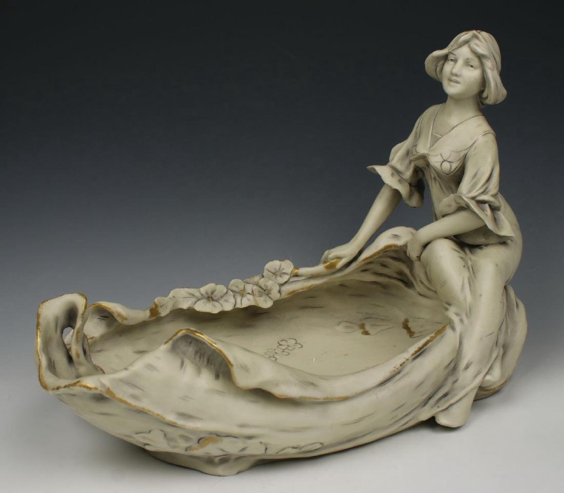 """Royal Dux art nouveau figurine """"Bowl with Woman"""""""