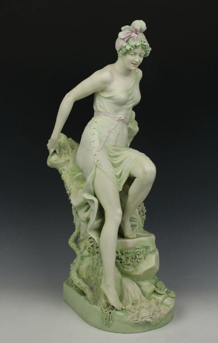 """19C Royal Dux art nouveau figurine """"Woman on Rock"""""""