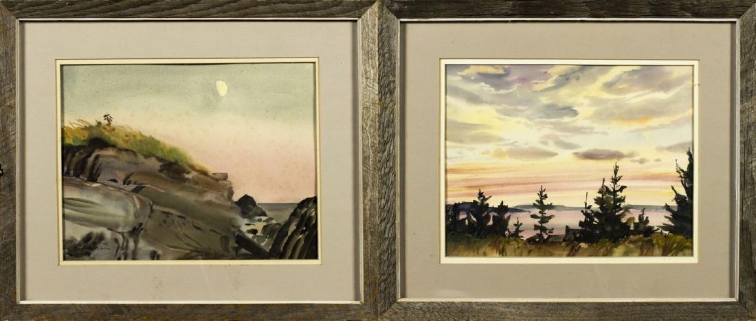 Gene Klebe (Maine,1907-2009) 2 watercolors on paper