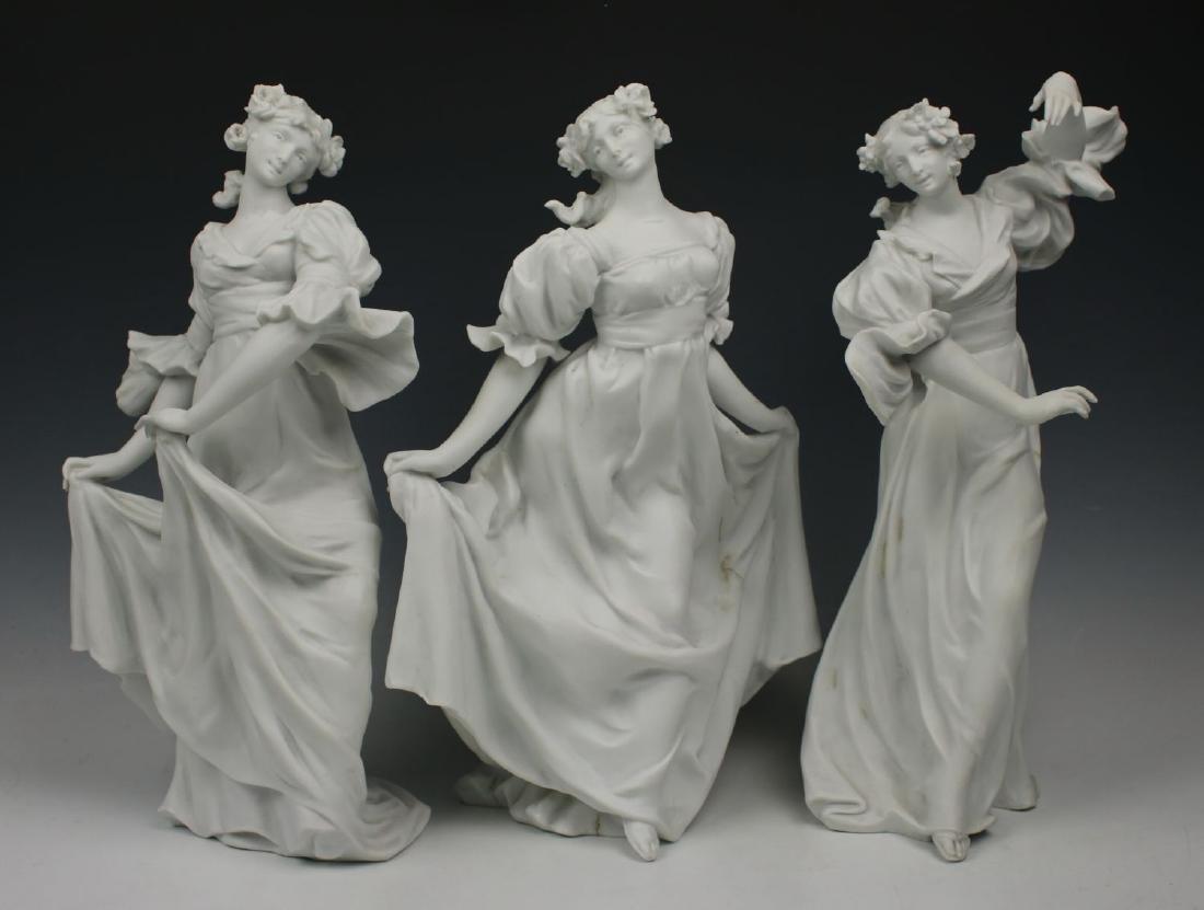 E. Quinter (France,19C) 3 parian porcelain figurines