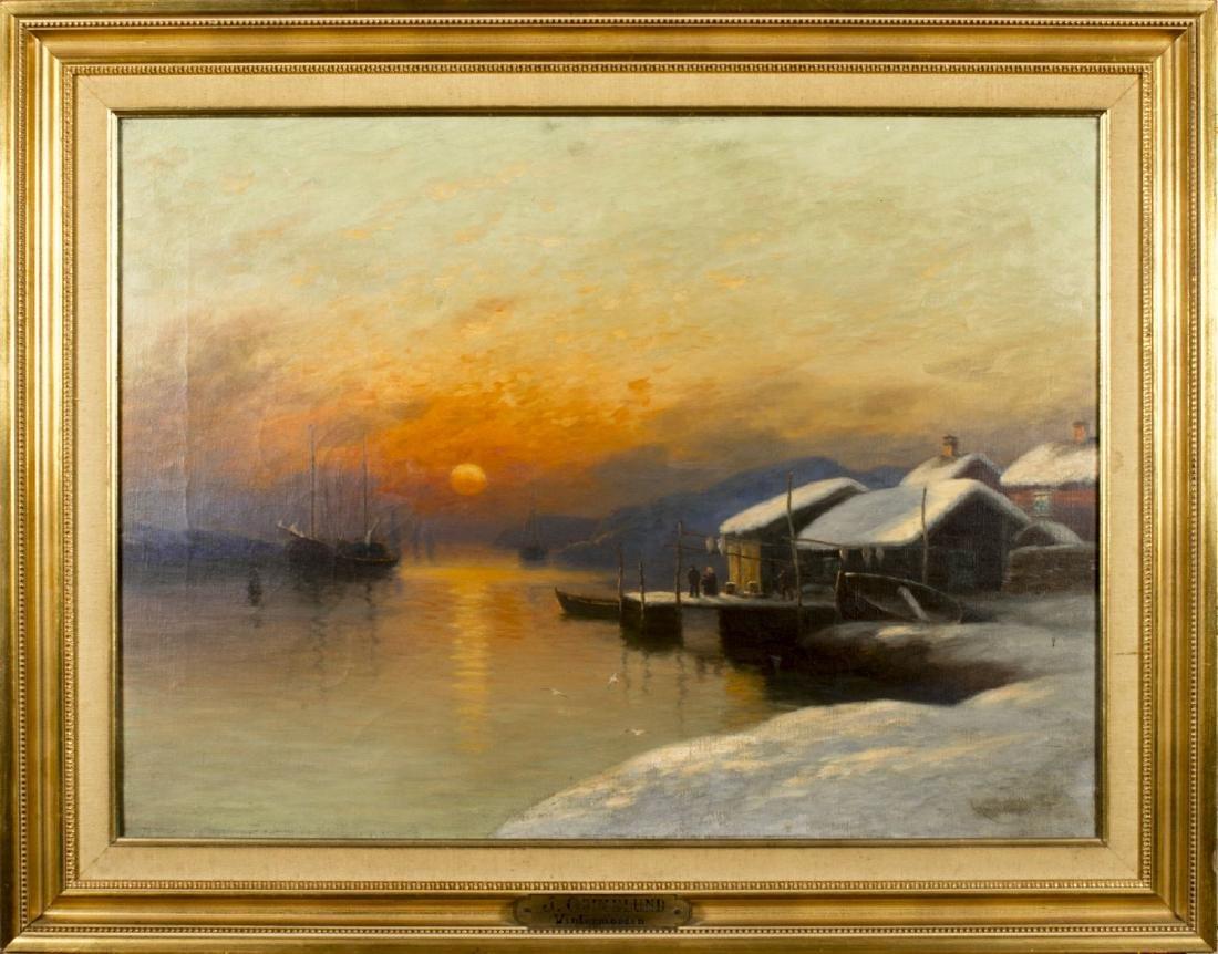 Johannes Martin Grimelund (Norway,1842-1917) oil on
