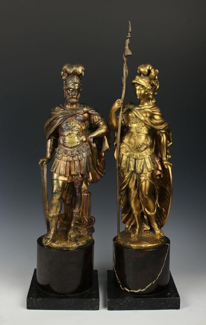 """Pair of french bronzes """"Mars & Minerva"""""""