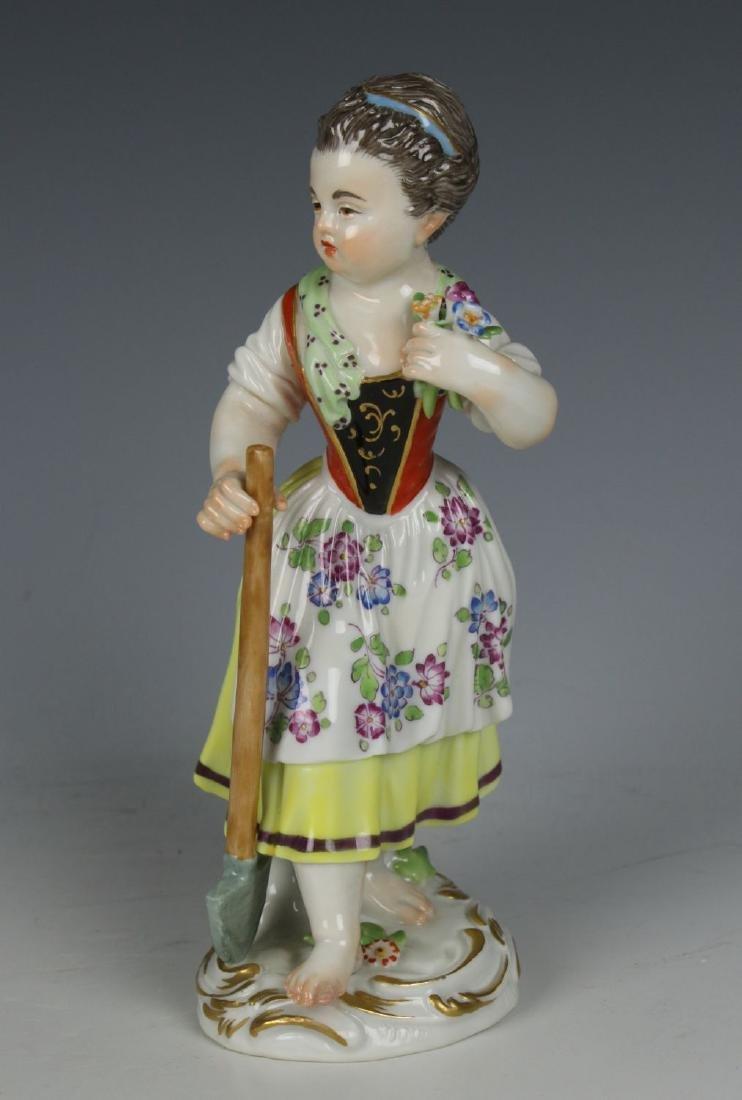 """Meissen Kaendler Figurine """"Girl with Shovel"""""""