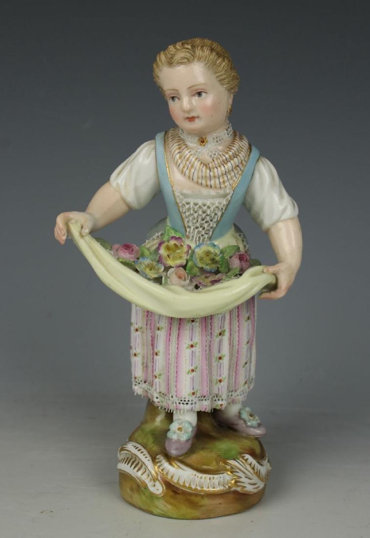 "Meissen Kaendler Figurine ""Girl with Flowers in Apron"""