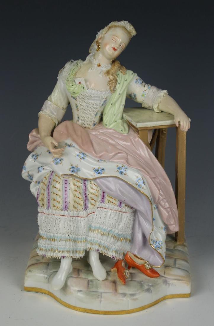 "Meissen Acier Figurine ""Girl Sleeping in Chair"""