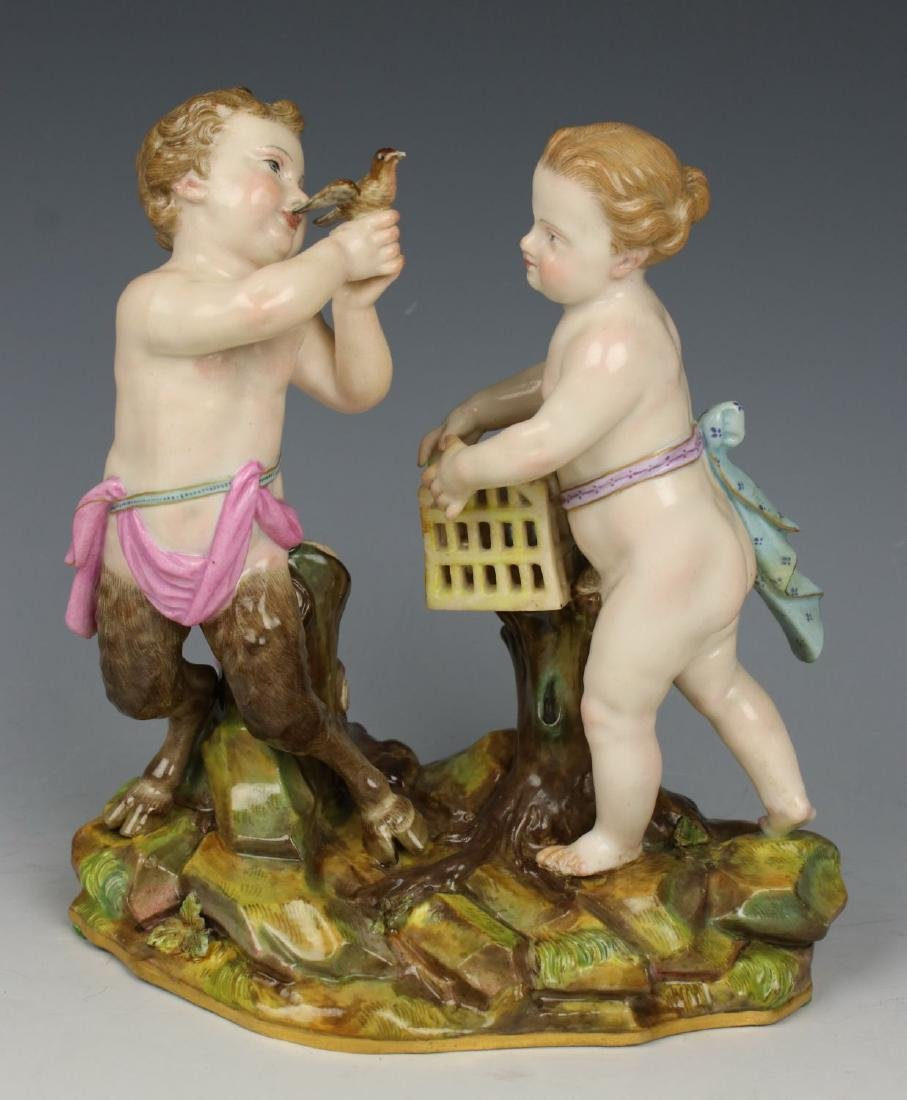 "Meissen Acier Figurine ""Faun and Girl with Bird"""