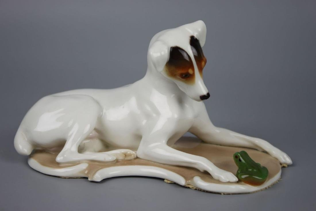 "Nymphenburg figurine ""Dog with Frog"" (Theodor Karner)"