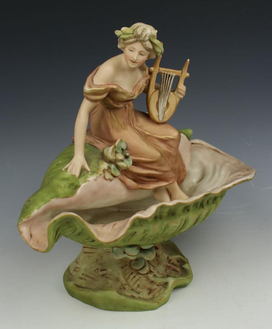 """Royal Dux art nouveau figurine """"Shell Vase with Woman"""