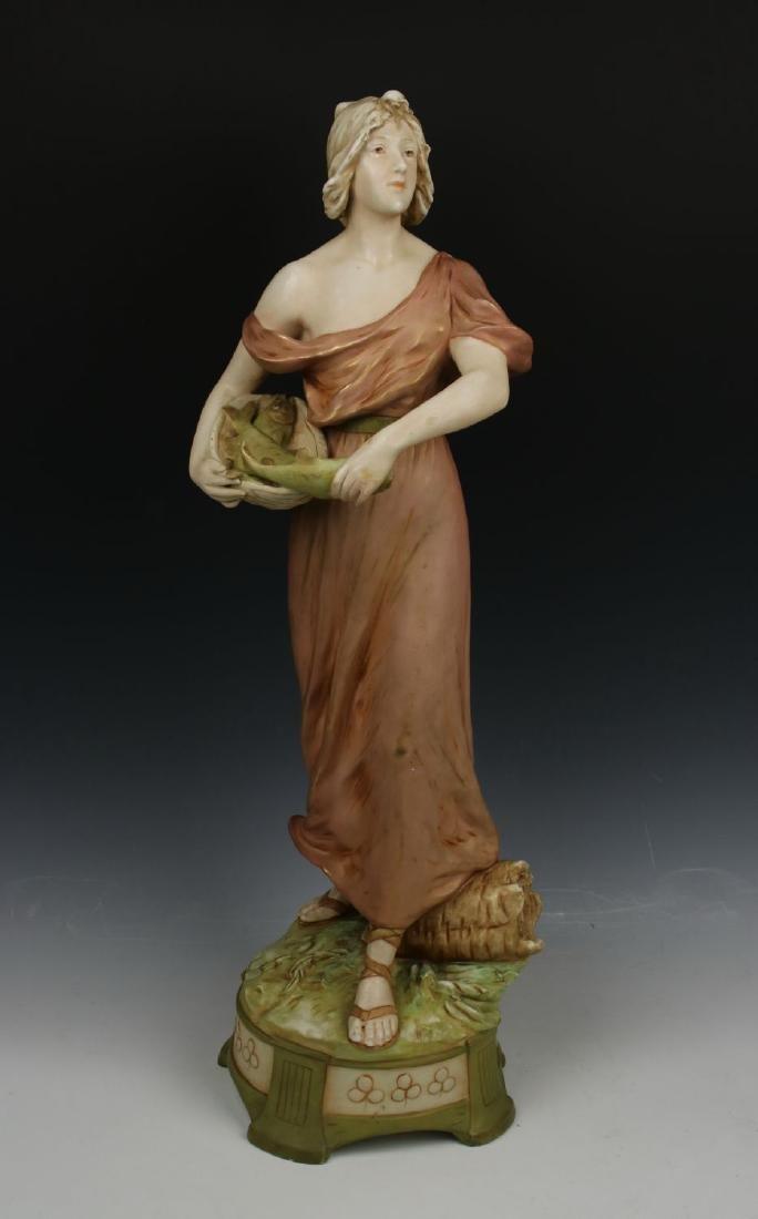 """22"""" Royal Dux art nouveau figurine """"Woman Fish Seller"""""""