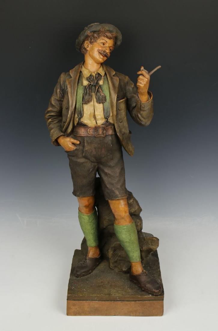 """19C Goldscheider Wien figurine """"Bavarian Man with Pipe"""""""