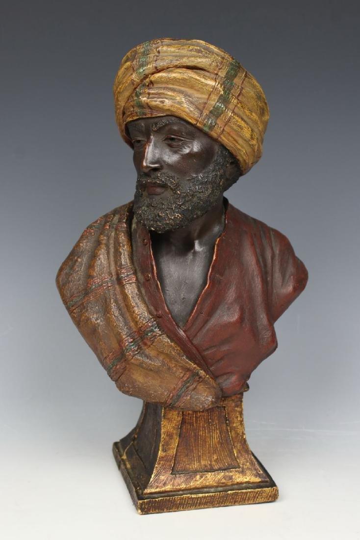 """19C Goldscheider Wien figurine """"Bust of Oriental Man"""""""
