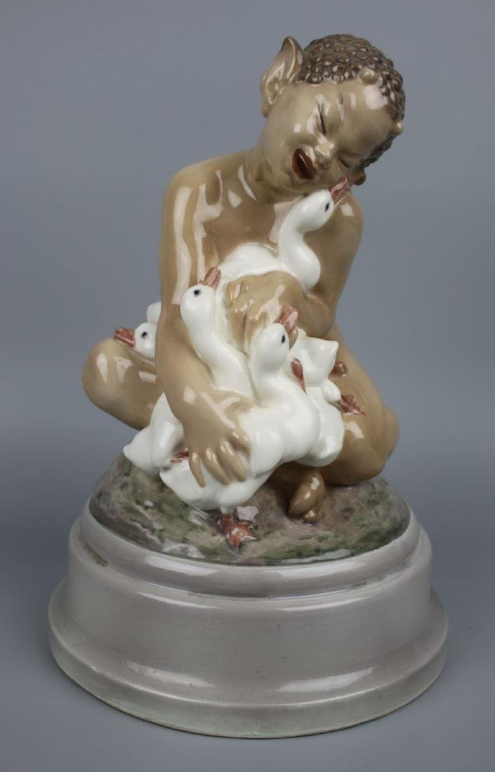 "Rare large Dahl Jensen Figurine ""Faun with Ducklings"""