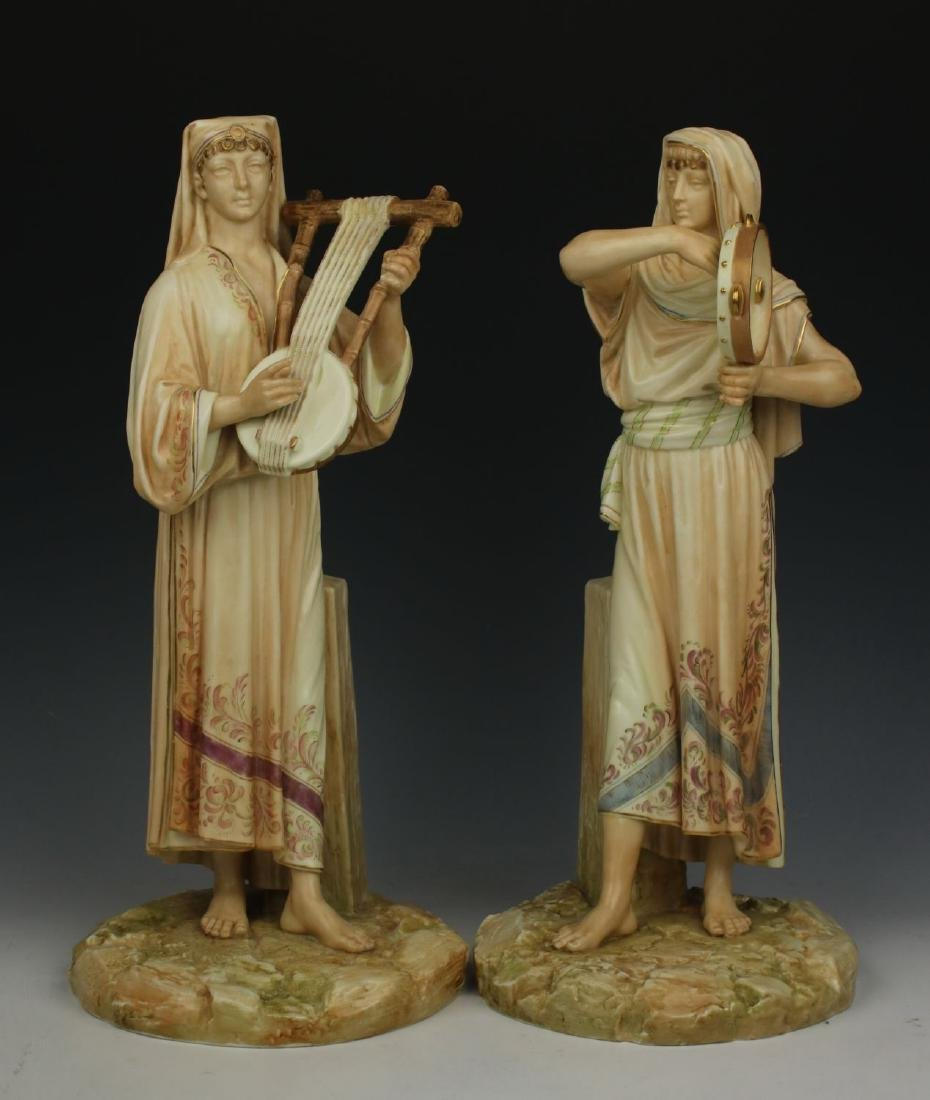 "Royal Worcester 2 figurines ""Egyptian Musicians"""