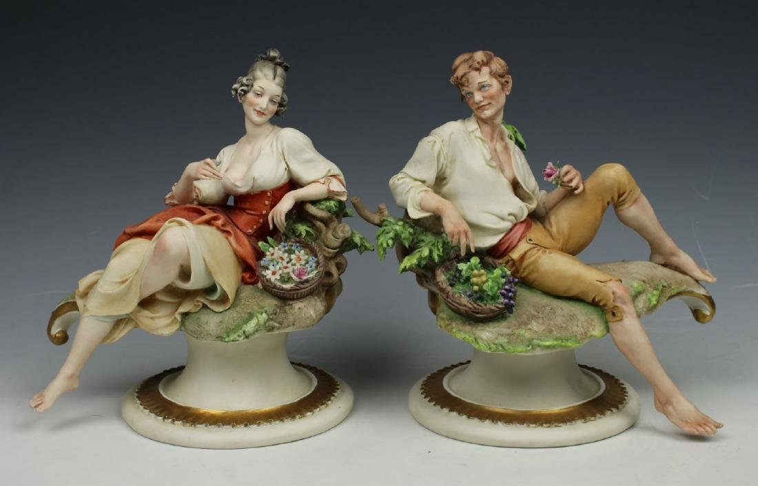"Capodimonte Giuseppe Cappe 2 figurines ""Peasant Man and"
