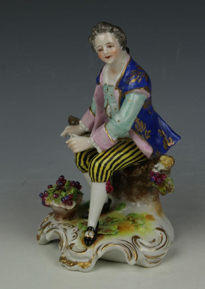 """Dresden Volkstedt figurine """"Sitting Man with Grapes"""" - 5"""