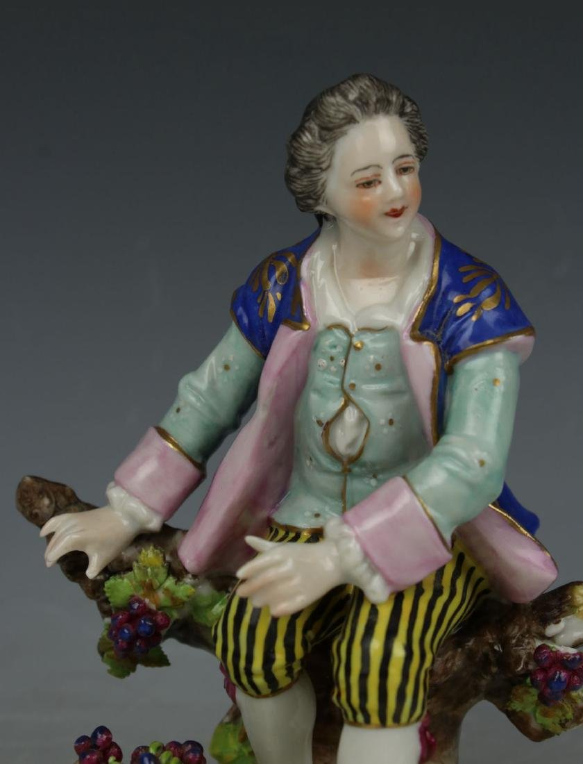 """Dresden Volkstedt figurine """"Sitting Man with Grapes"""" - 6"""