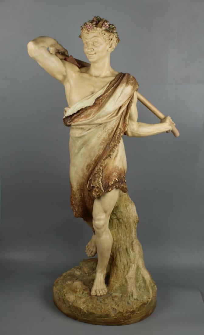 "29"" 19C Royal Worcester Hadley figurine ""Satyr with"