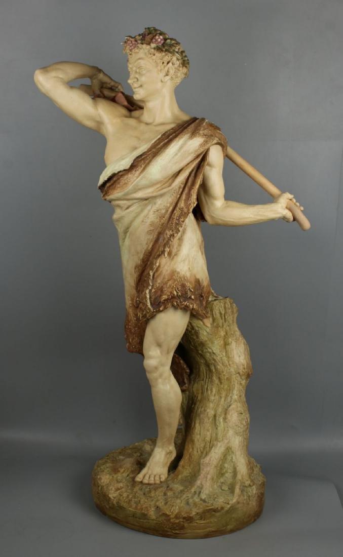"29"" 19C Royal Worcester Hadley figurine ""Satyr with - 2"