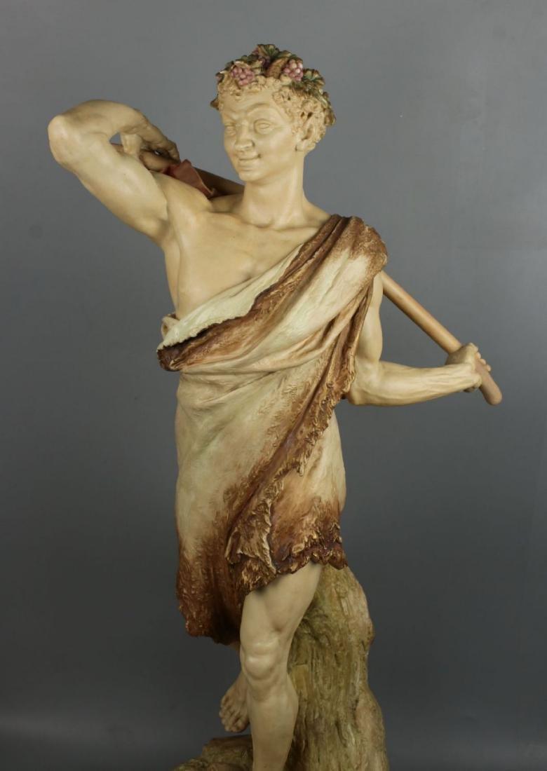 "29"" 19C Royal Worcester Hadley figurine ""Satyr with - 7"