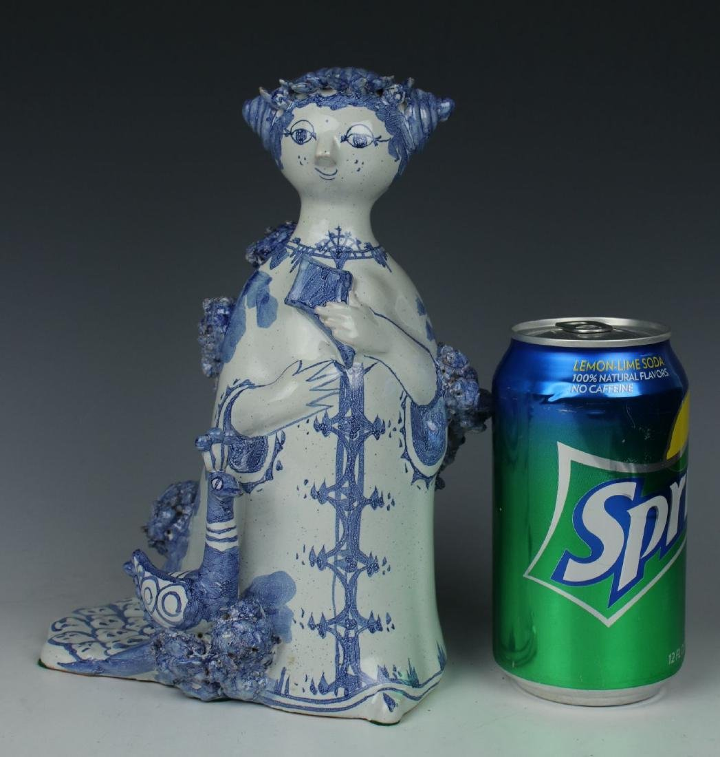 """Bjorn Wiinblad figurine """"Aunt Ella with Peacock"""" - 10"""