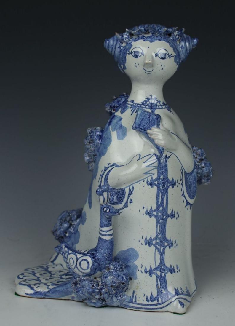 """Bjorn Wiinblad figurine """"Aunt Ella with Peacock"""""""