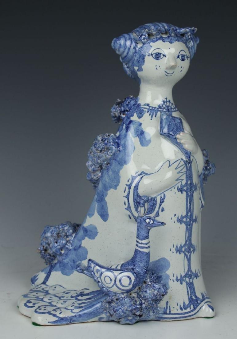 """Bjorn Wiinblad figurine """"Aunt Ella with Peacock"""" - 2"""