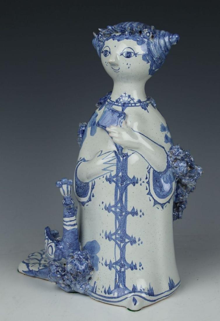"""Bjorn Wiinblad figurine """"Aunt Ella with Peacock"""" - 4"""