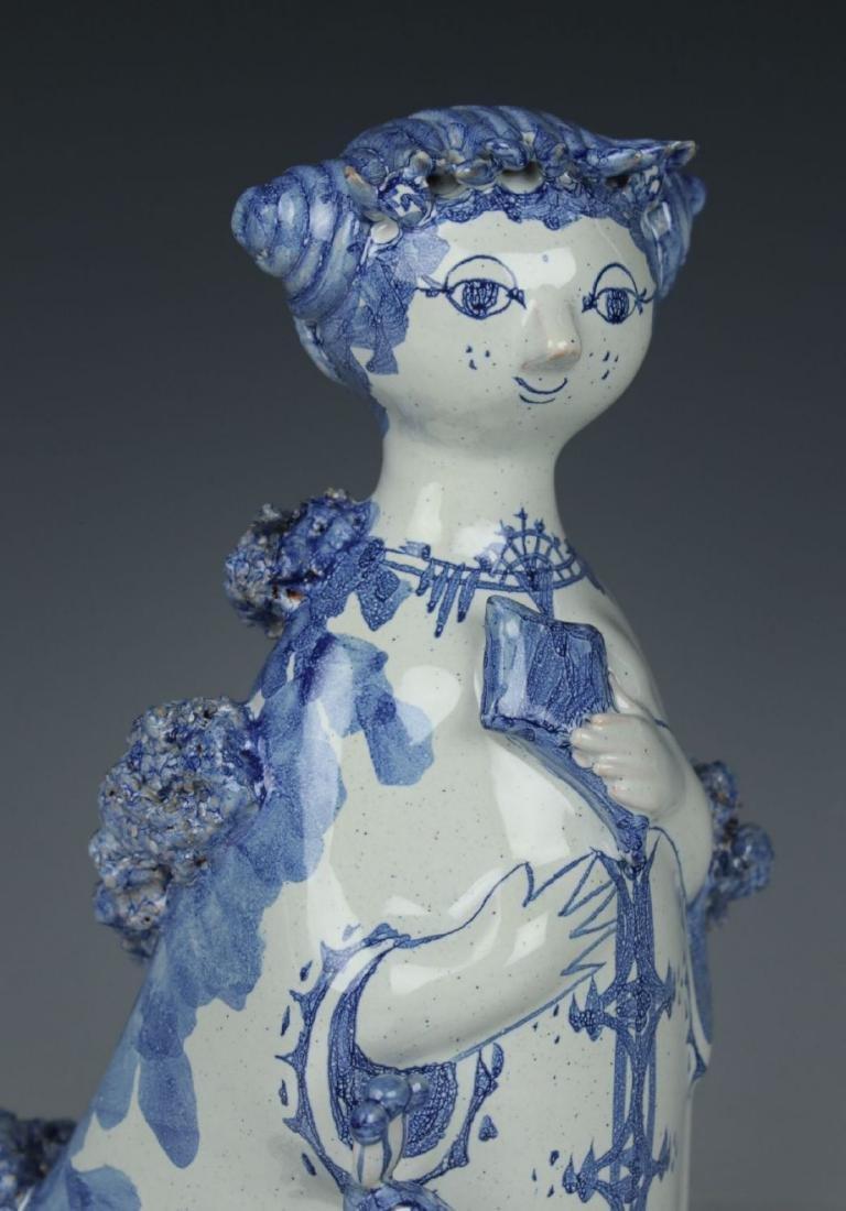 """Bjorn Wiinblad figurine """"Aunt Ella with Peacock"""" - 5"""