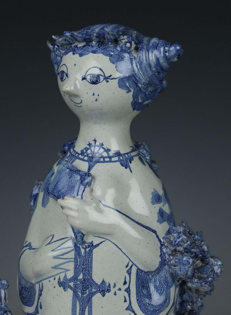"""Bjorn Wiinblad figurine """"Aunt Ella with Peacock"""" - 6"""