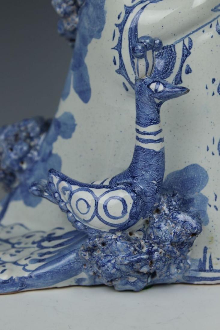 """Bjorn Wiinblad figurine """"Aunt Ella with Peacock"""" - 7"""