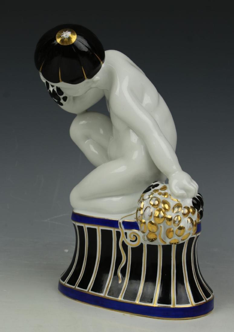 "Fraureuth art deco figurine ""Boy Eating Grapes"" - 6"