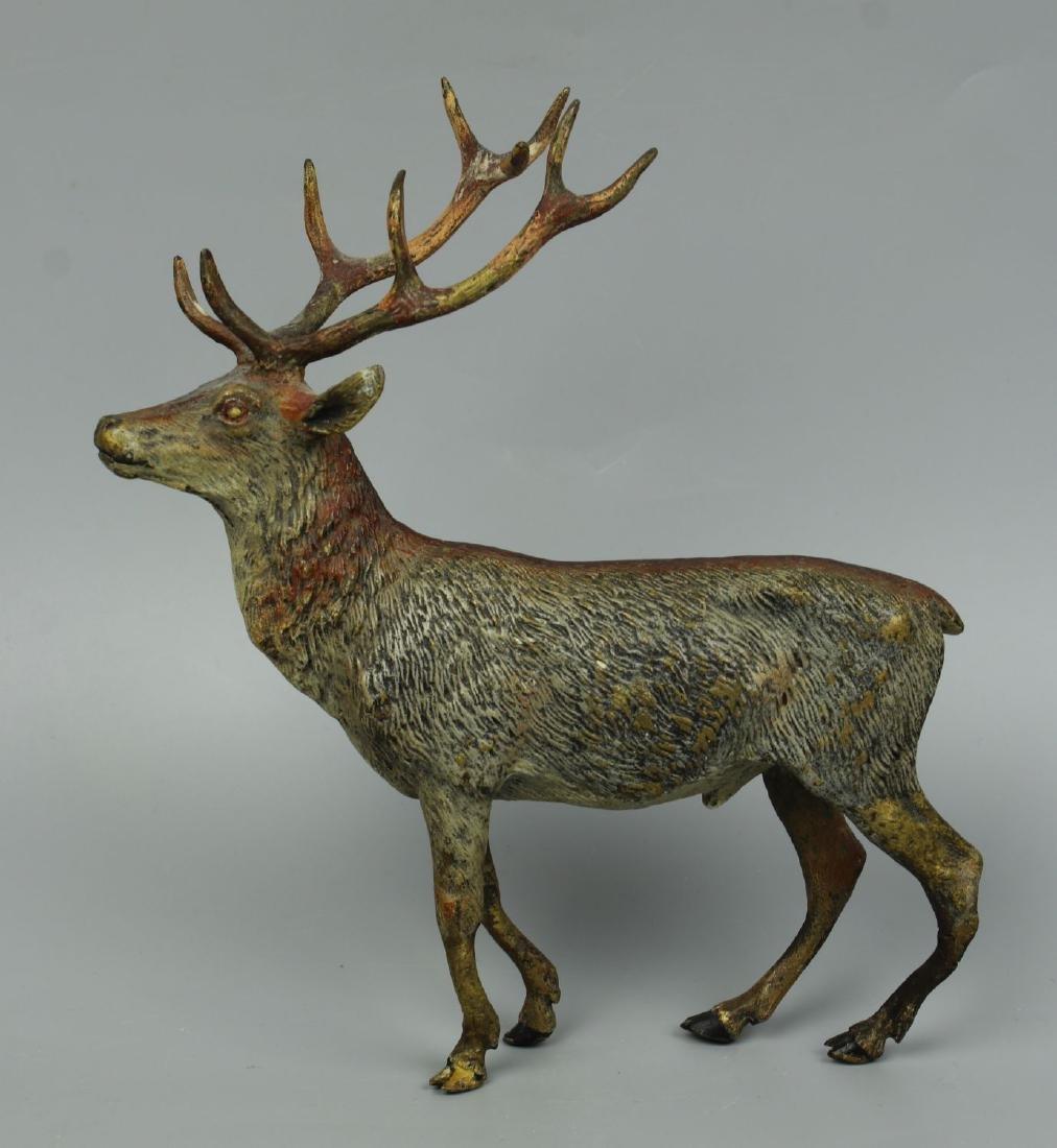 Antique Austrian Bronze Deer Stag cold painted