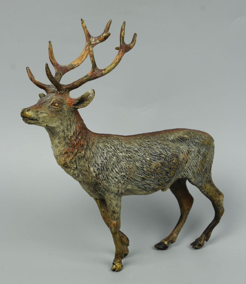 Antique Austrian Bronze Deer Stag cold painted - 2