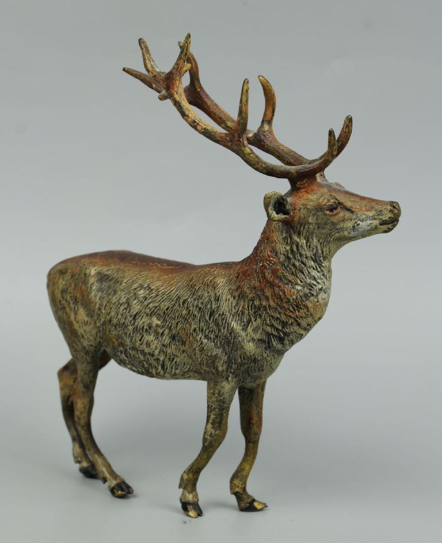 Antique Austrian Bronze Deer Stag cold painted - 3