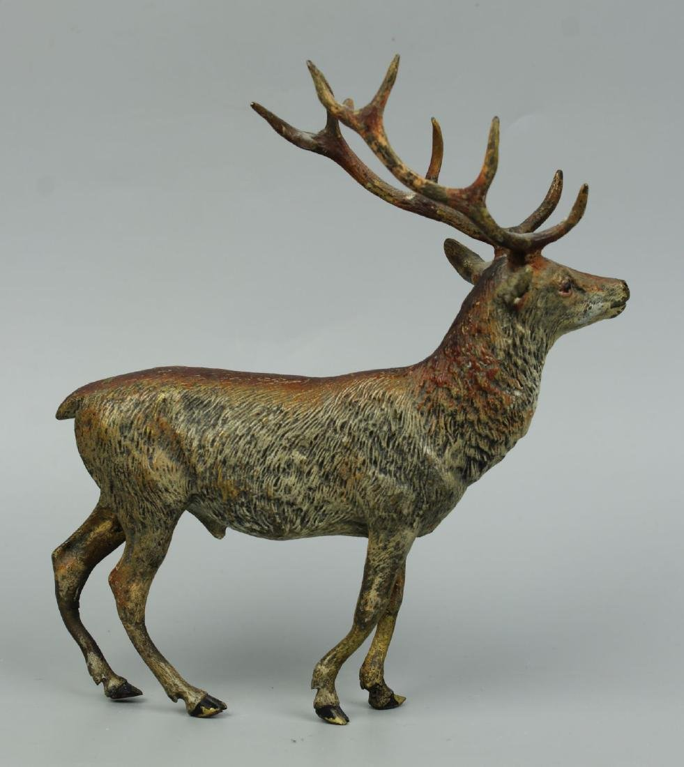 Antique Austrian Bronze Deer Stag cold painted - 4