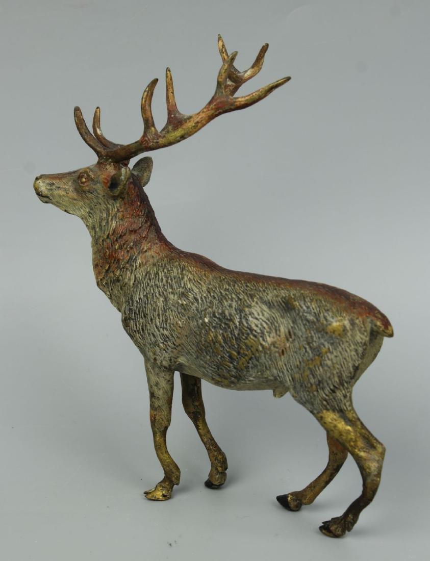 Antique Austrian Bronze Deer Stag cold painted - 6
