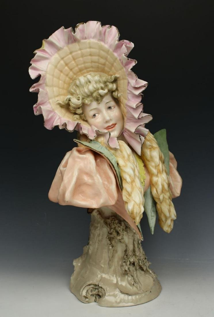 "Antique Ernst Wahliss Figurine 4194 Bust ""Winter"" - 2"