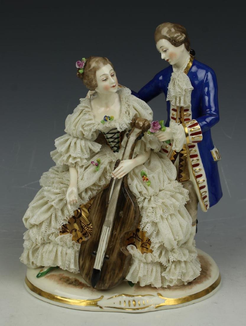 "Ackermann & Fritze Dresden lace figurine ""Courting"