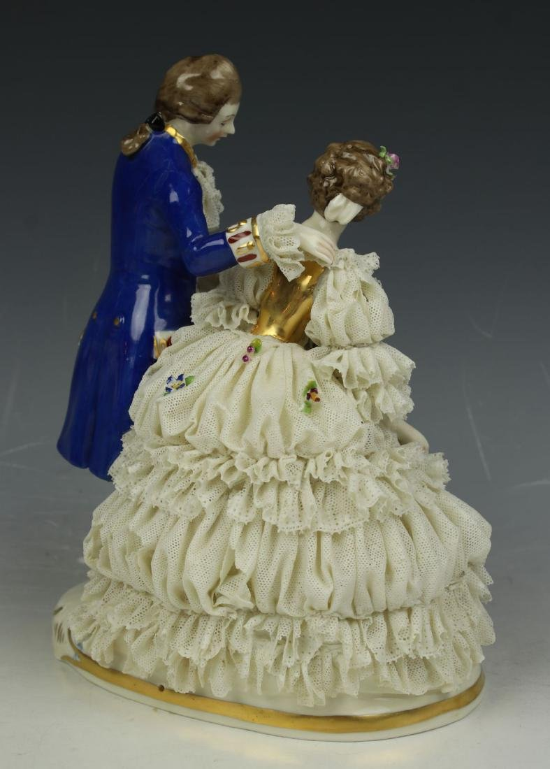 "Ackermann & Fritze Dresden lace figurine ""Courting - 3"