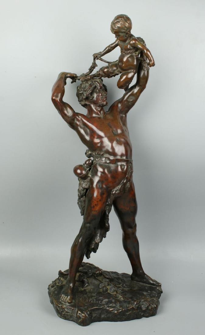 """19C 25"""" Clement Steiner (french,1853-1899) Bronze"""