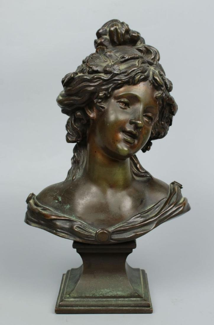 """19C French Bronze """"Bust of Girl"""""""